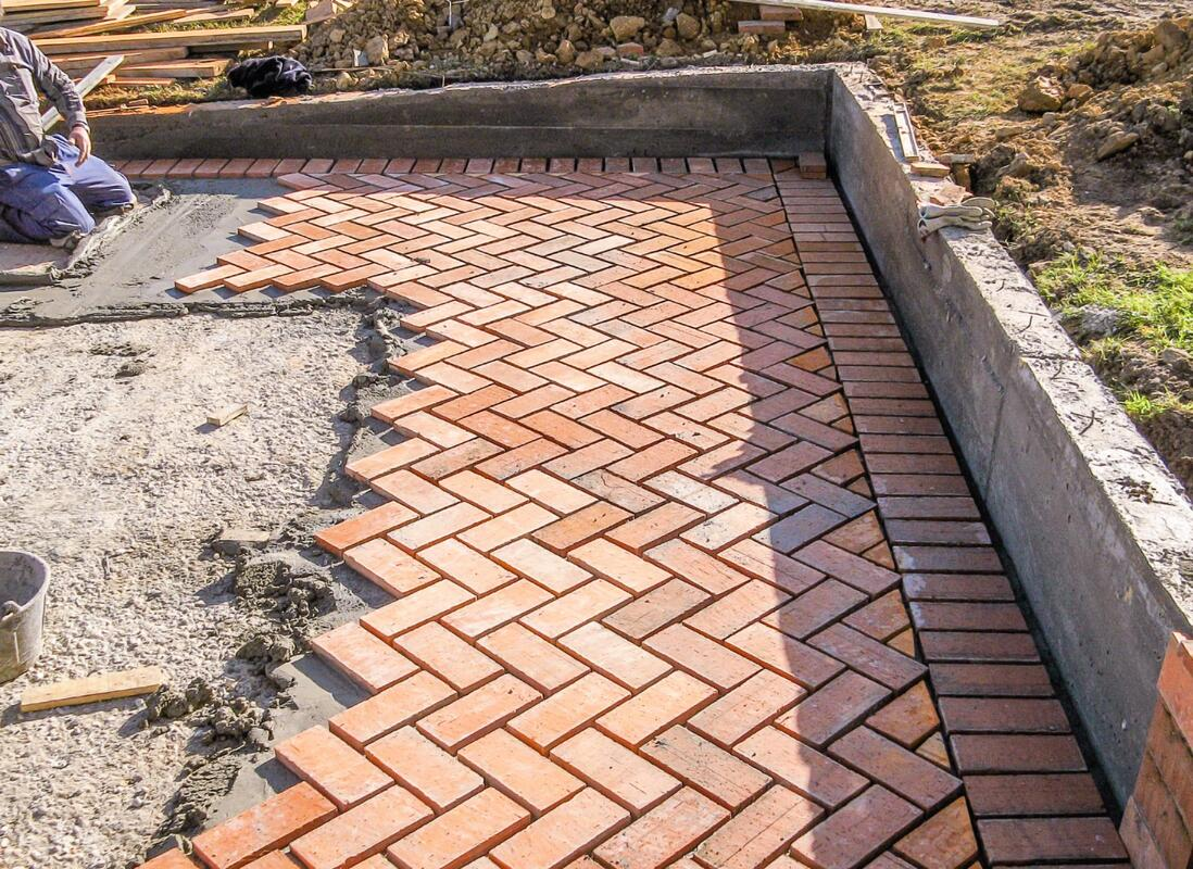 Picture of a brick patio being installed. Taken in Silver Spring MD.