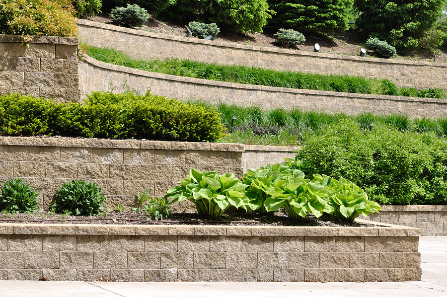 Picture of multiple level retaining wall. Taken in Silver Spring MD.